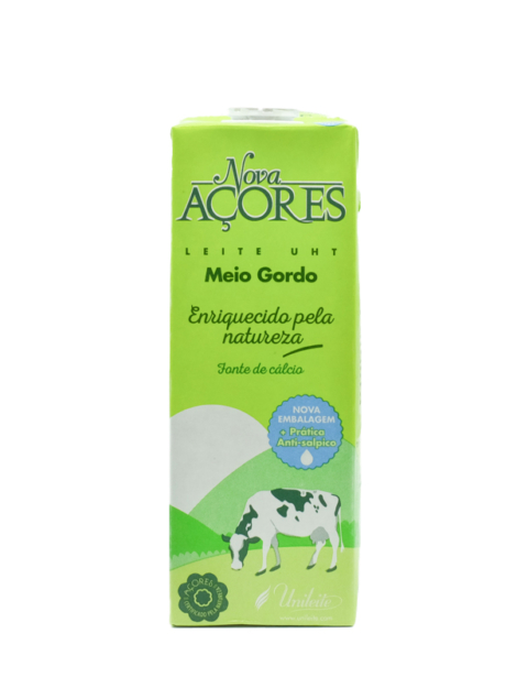 Leite UHT Nova Açores Meio Gordo 1l